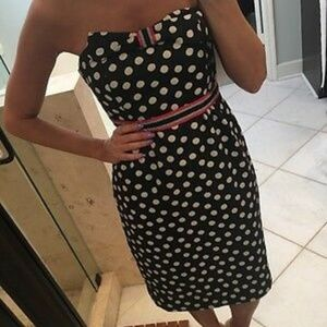 Anthropologie Maeve Polka Dot Strapless Dress Sz 8